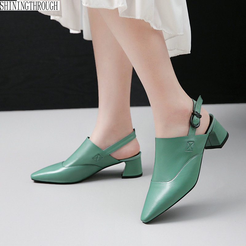2019 new slingbacks shoes woman pointed toe shallow genuine leather women pumps high heels shoes woman2019 new slingbacks shoes woman pointed toe shallow genuine leather women pumps high heels shoes woman