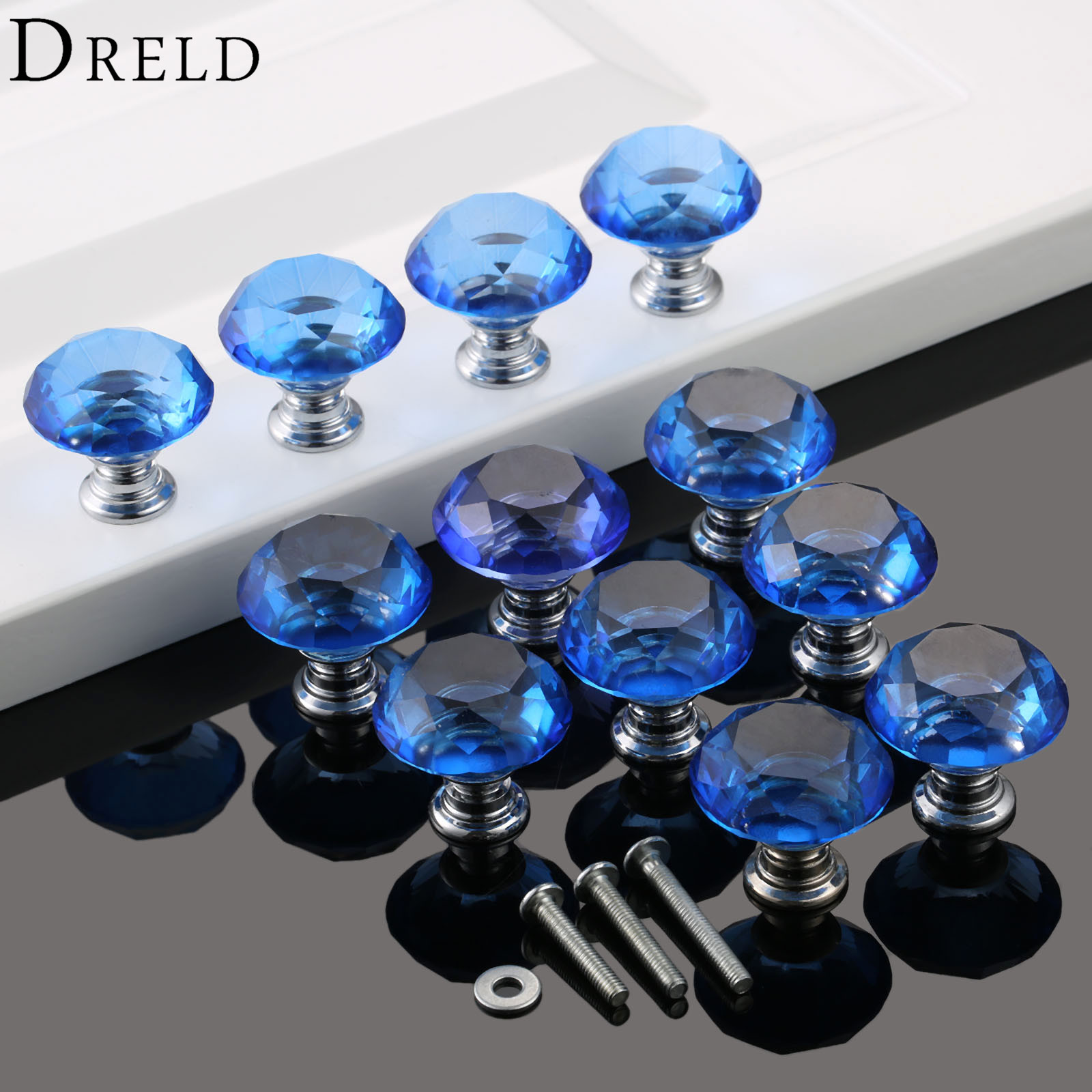 DRELD 12Pcs Blue Diamond Cabinet Cupboard Wardrobe Drawer Door Handles Crystal Glass 30mm Pulls Knobs Kitchen Furniture Handles 10 pcs 30mm diamond shape crystal glass drawer cabinet knobs and pull handles kitchen door wardrobe hardware accessories