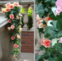 90cm Artificial Silk Rose Garland Fake Flower Ivy Vine Leaf Garland Plants 2 Bunches For Home Decor Wedding Arch Flowers