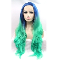 JOY&BEAUTY hair 26inch Two Tone blue ombre green long wavy wigs synthetic lace front wig heat resistant free shipping