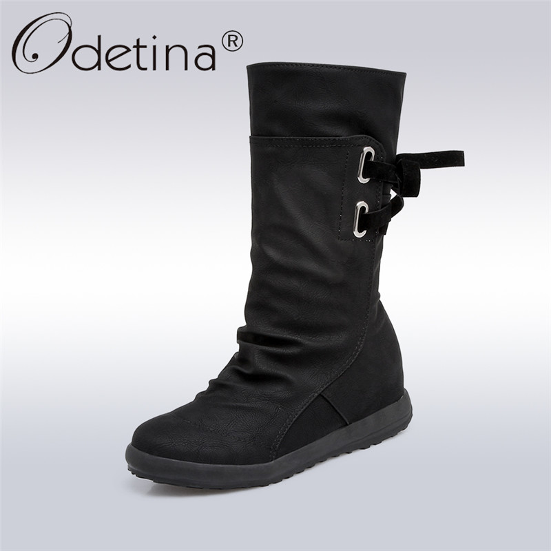 Odetina 2017 New Fashion Lace Up Flat Mid Calf Boots Women Short Boots Round Toe Retro Hidden Heel Shoes Casual Plus Size 34-44 double buckle cross straps mid calf boots