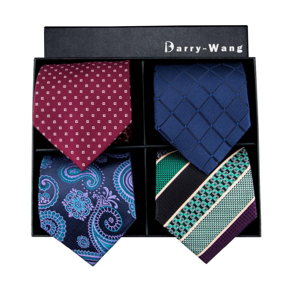 4P 1 Barry.Wang New Mens Tie High Quality Silk Jacquard Woven Gravata Necktie Hanky Cufflinks Set For Business With Gift Boxes