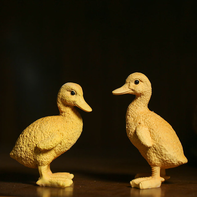 Us 8567 A Pair Cartoon Zodiac Animal Figurines Small Yellow Duck Wood Carving Creative Craft Home Decoration Gift Wooden Statues In Statues