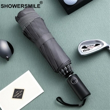 SHOWERSMILE Windproof Reverse Folding Umbrella Gentleman Inverted Men Business Automatic Sun Rain Uv Male Parasol