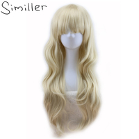 Similler 24 Similler Long Curly Synthetic Wigs Fringe Bangs With Free Wig Cap Golden High Temperature