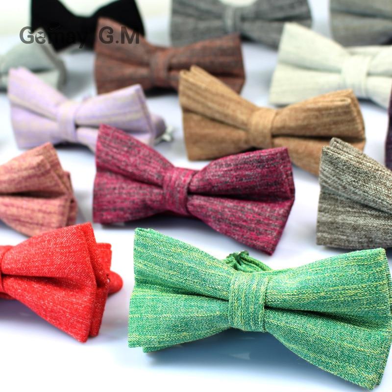 Cotton Men's Bowtie 6cm Solid Bow Ties For Men Wedding Party Shirt Dress Accessories Gifts Gravata Cravate Adjustable Ties