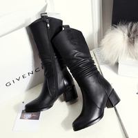 2018New Female Boots For Autumn And Winter Leather Boots Coarse Heel Big Size Canister Boots
