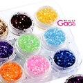 Cuidados de beleza 12 cores/lote 1mm de Diâmetro de Alta Qualidade Acrílico Unhas de Gel Tatuagem Flocos Hexágono Glitter Pedrinhas & decorações
