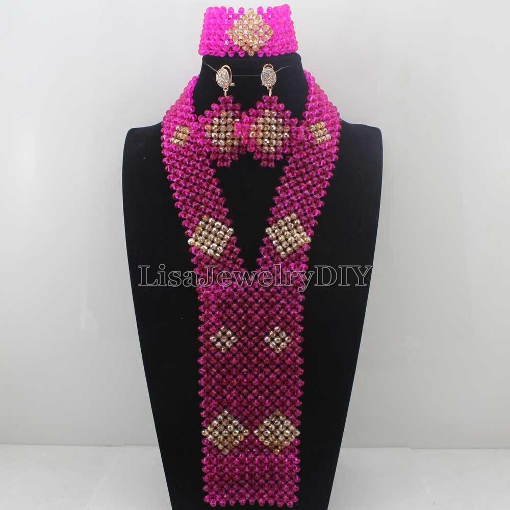 2016 Hot Rose/Costume De Mariée Indien Ensemble de Bijoux Femmes Mode Bijoux Tendances Traditonal Mariage Perles Livraison ShippingHD7710