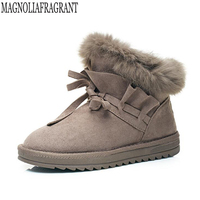 2018 NEW Real Hair Women Snow Boots Large Size Winter Boots Shoes Warm Plush Ankle Women