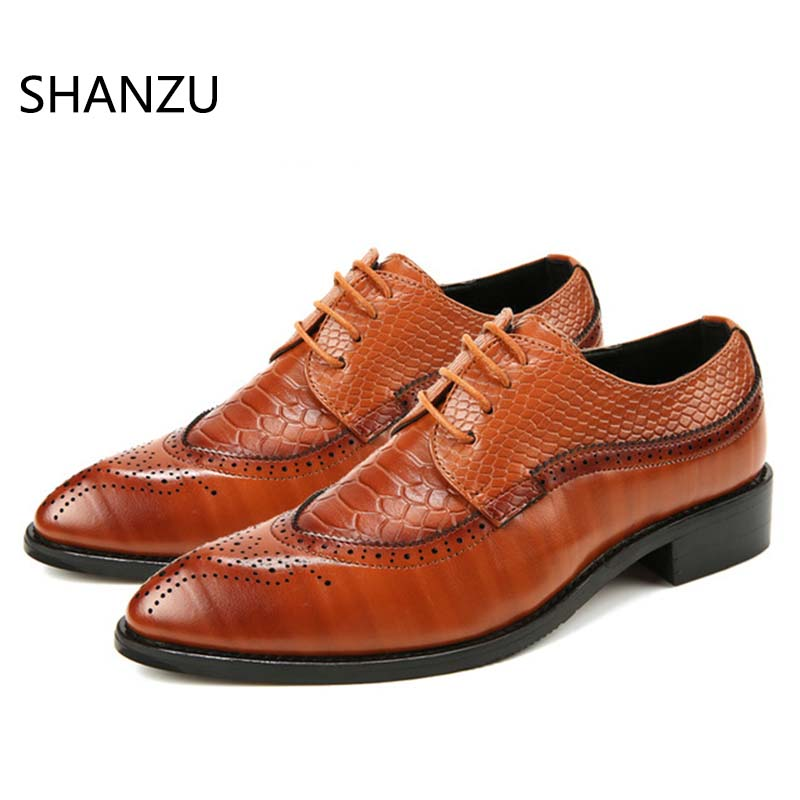 Men's Shoes Italian Shoes Men Leather Crocodile Skin Mens Pointed Toe Dress Shoes High Heel Lace Up Oxford Shoes For Men Formal Shoe Lasts 100% Original