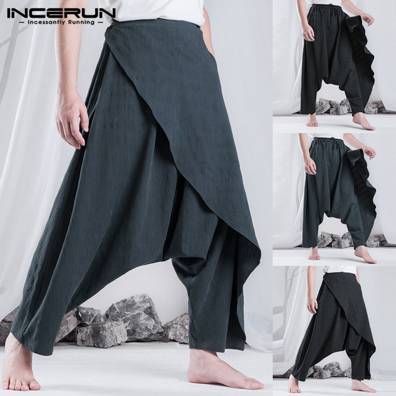 INCERUN Retro Ethnic Men Harem Pants Hiphop Baggy Loose Trousers Fashion Women Casual Pants Hombre Pantalon Drop Cross-Pant 5XL(China)