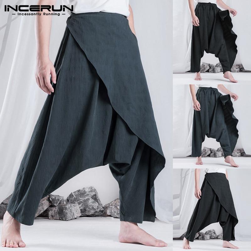 INCERUN Retro Ethnic Men Harem Pants Hiphop Baggy Loose Trousers Fashion Women Casual Pants Hombre Pantalon Drop Cross-Pant 5XL