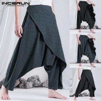 INCERUN, pantalones de Harem Retro étnicos para Hombre, pantalones holgados de hip hop, pantalones casuales de moda para mujer, pantalones para Hombre, pantalones cruzados de gota 5XL