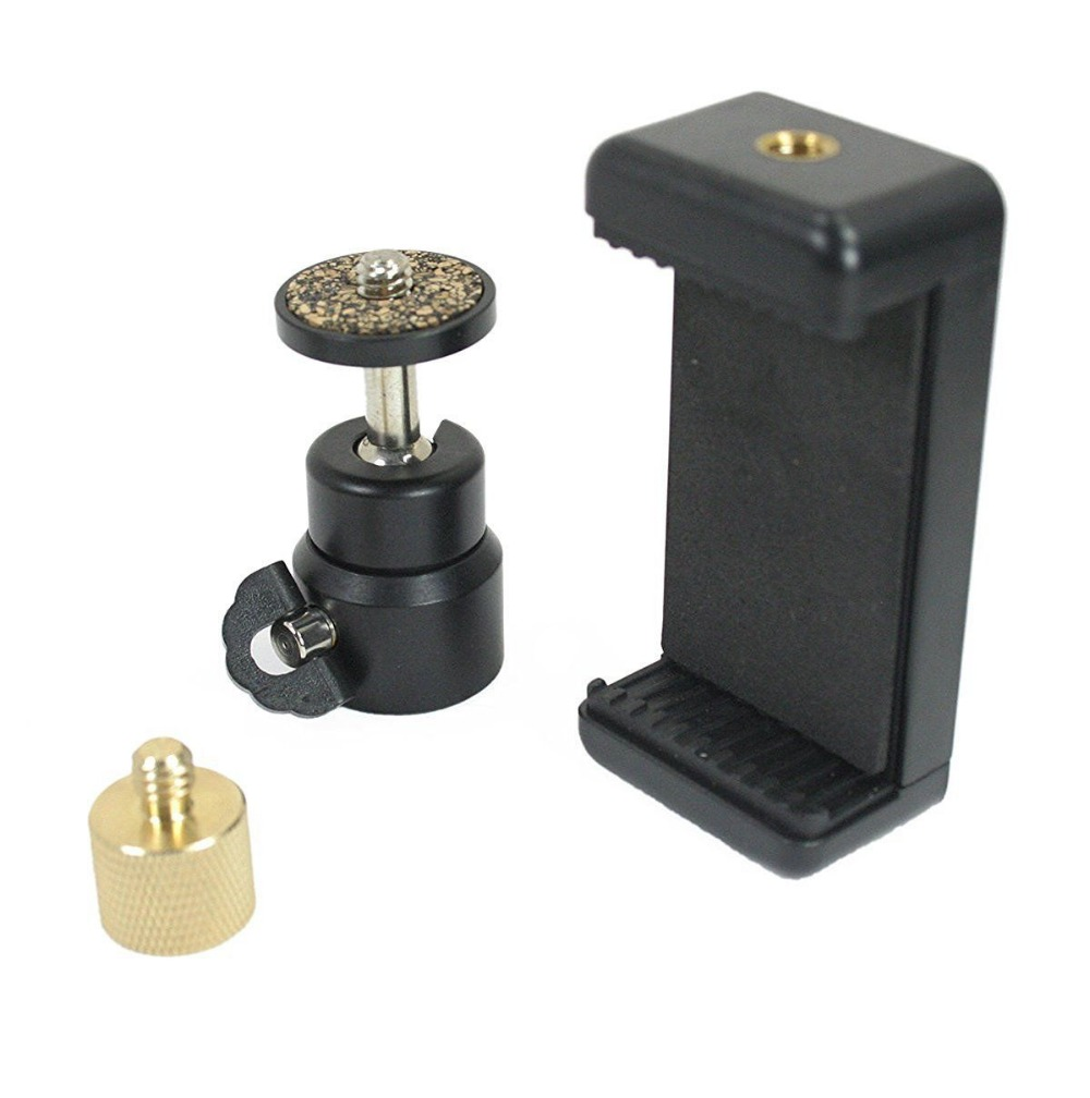 3/8 to 1/4 Thread Screw Reducer w/Ball Head & Phone Clamp. Phone to Mic Stands