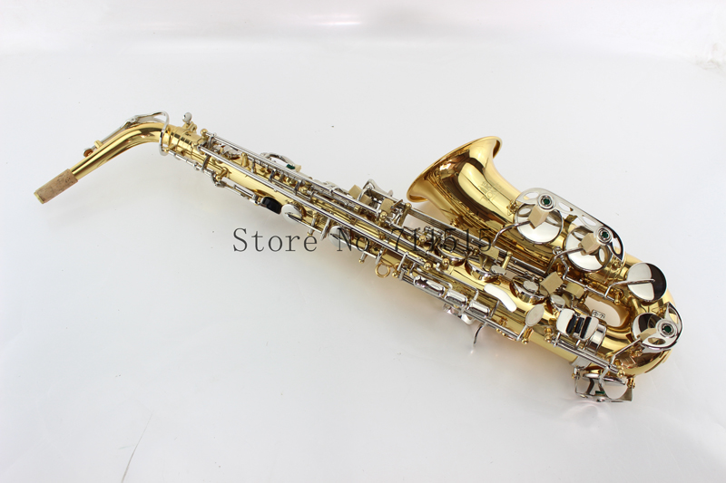 Selmer Eb Alto Saxophone Gold Body and Silver Key Alto Sax Professional Instruments with Mouthpiece,Nylon Case Gloves alto saxophone selmer 54 brass silver gold key e flat musical instruments saxophone with cleaning brush cloth gloves cork strap