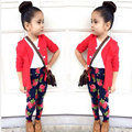3pcs Kids Girl Clothes Set Europe Cute Girls Clothes Red Jacket + Tshirt + Rose Pants Three-Piece Kids Clothing Vetement Garcon