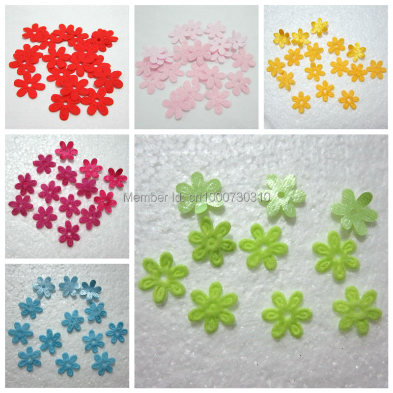 100 Pieces/lot Padded Felt Spring Flower Appliques Craft DIY Wedding  Decoration A29