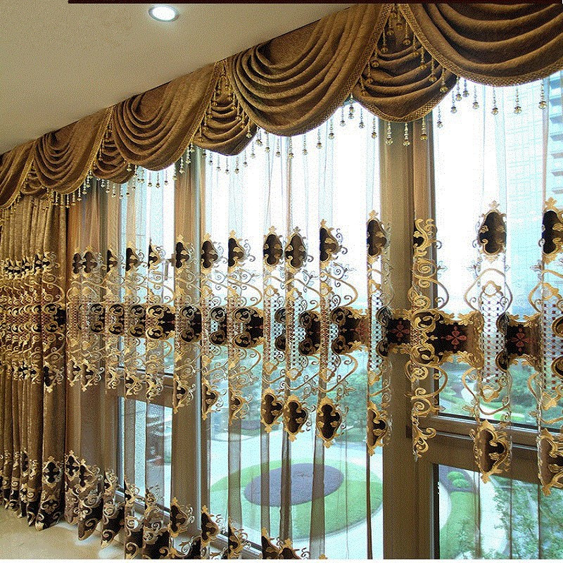 Brown European luxury embroidered gold curtains for living room with the sheer luxury hotels suitable for bedroom window