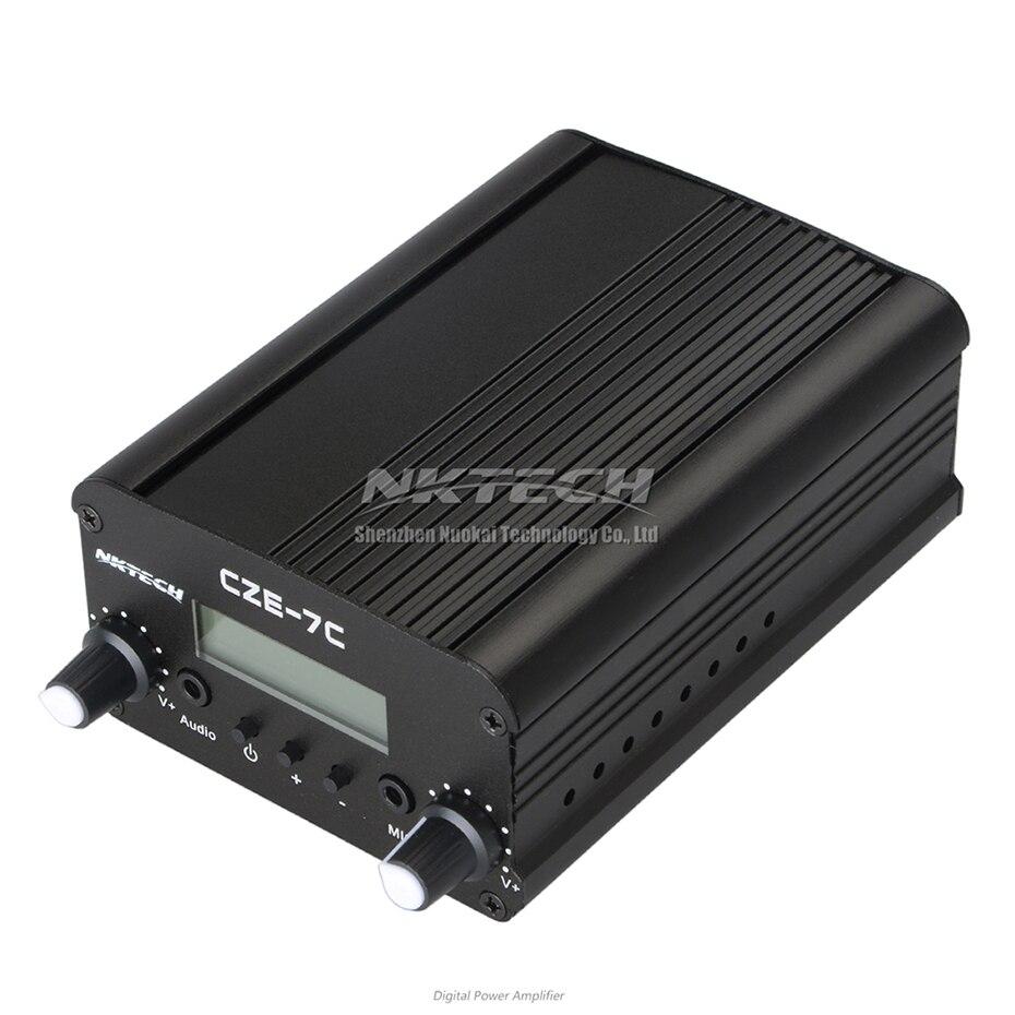NKTECH CZE-7C PLL FM émetteur Radio Station de diffusion 1 W/7 W stéréo fréquence 76-108Mhz Pro Campus amplificateurs LCD rétro-éclairage - 3