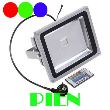 ФОТО 12V 50W Colored RGB Outdoor lights 110V Wall projector Flood light Garden Waterproof landscape lamp Remote Control by DHL 6pcs