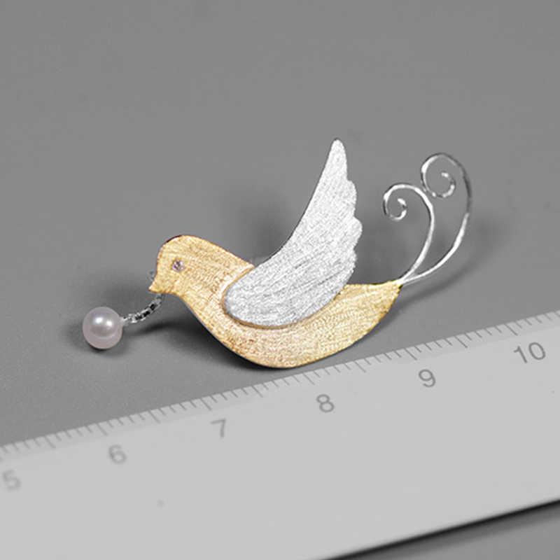 Lotus Menyenangkan Nyata 925 Sterling Perak Buatan Tangan Perhiasan Kreatif Burung Terbang dengan Buah Bros untuk Wanita Hadiah Lucu
