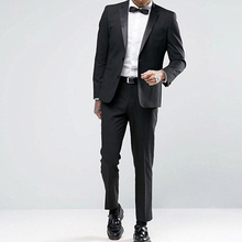 Black Slim Fit Mens Suits for Wedding Groom Tuxedos Prom Party Notched Lapel 2 Piece Man Suit Set Business Jacket with Pants