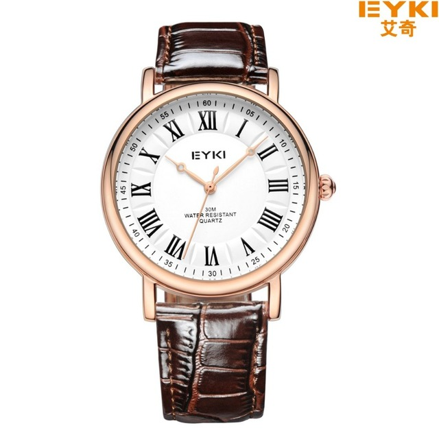 Brand EYKI 30M Waterproof Business Casual Watch Roman scale Couple Watches Digital Scale Leather Strap Japan movement 1005