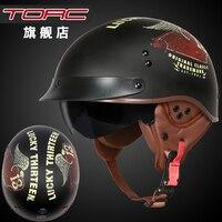 TORC Vintage Motorcycle Helmet Harley Helmetretro Scooter Half Helmet With Inner Visor Lens Moto Casco DOT