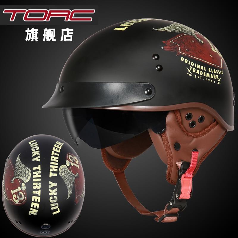 цена на TORC T55 motorcycle helmet vintage Harley helmet retro scooter half helmet with inner visor lens casco moto DOT capacete