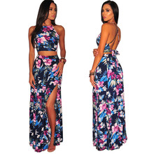 Boho New Sexy Women Two Piece Set Crop Top Long Skirt Floral Printed Halter Strapless Bandage Backless High Waist Casual Suit halter printed fringed crop top for women