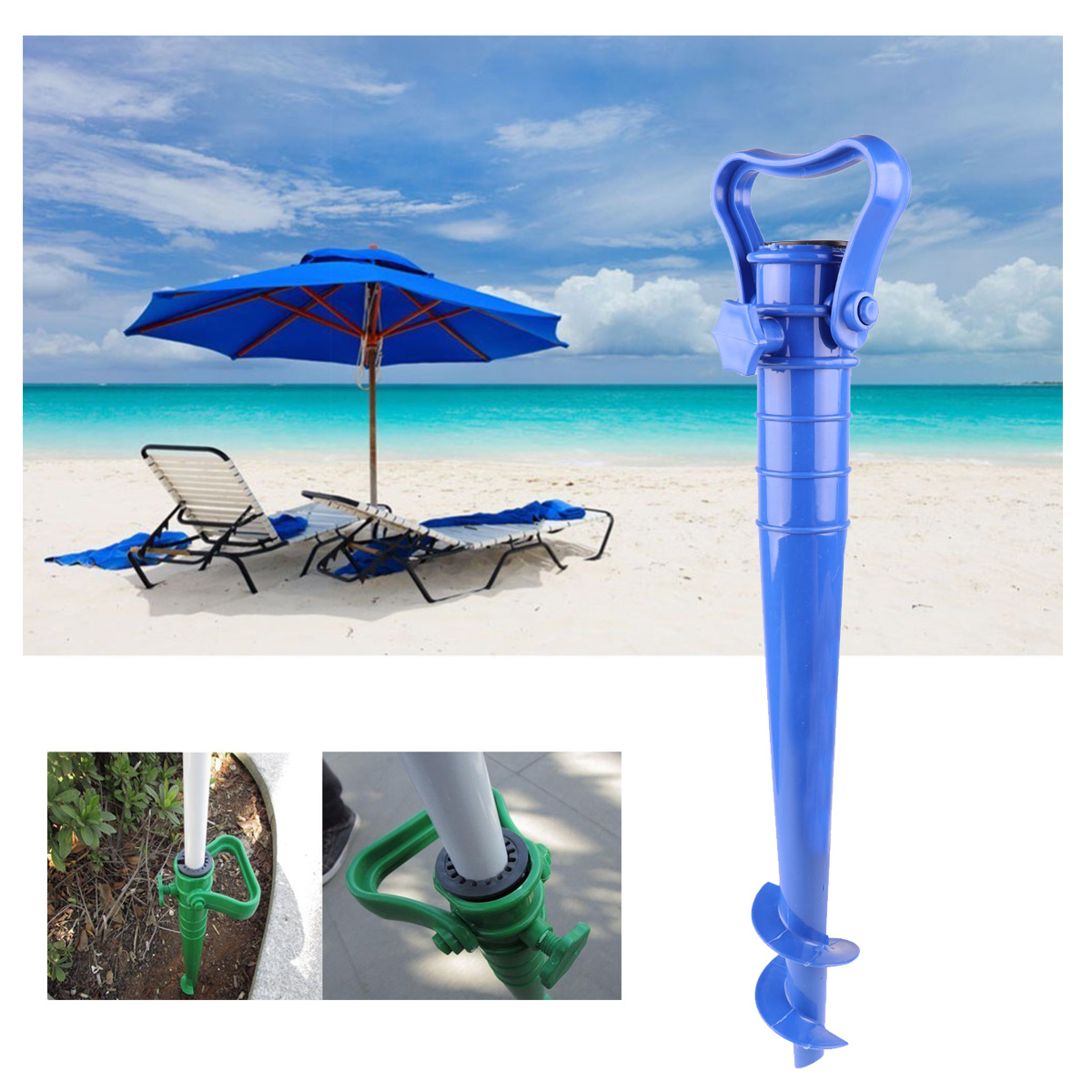 Adjustable Heavy Duty Plastic Beach Umbrella Sand Ground Anchor Stand Spike Auger Holder for Fishing Pole Sun Beach Garden Patio(China)