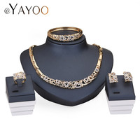 Jewelry Sets For Women Crystal Heart Necklace Set Fine African Beads Earrings Gold Plated Pendant Wedding