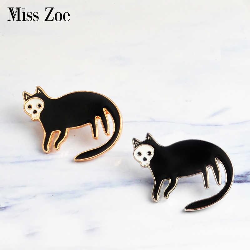 ee730d875dc Black cat with Skull face Enamel Pins Badge Dark gold silver brooch Animal Lapel  pin Gothic