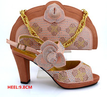 New Peach Color Italy Shoe and Bag Set PU Material Fabric African Italian Shoe with Matching Bag for Party Dress MM1008