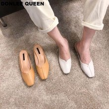 DONLEE QUEEN Women Low Heel Slippers Slip On Mules Wooden Square Toe Casual Loafers Female Outdoor Soft Shoes zapatos mujer