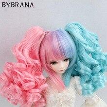 Bybrana BJD perruque pour 1/3 1/4 1/6 Double dégradé queue de cheval cheveux bouclés pour poupée