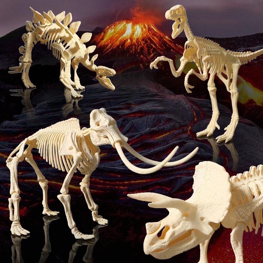 US $8 0 50% OFF 3D excavation kits DIY assembly Dinosaur models plastic  skeleton toys,Triceratops/stegosaurus/velociraptor/mammoth 4styles toy-in
