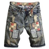 ABOORUN 2018 New Summer Mens Retro Denim Shorts Patchwork Ripped Jeans Shorts Knee Length Cotton Shorts