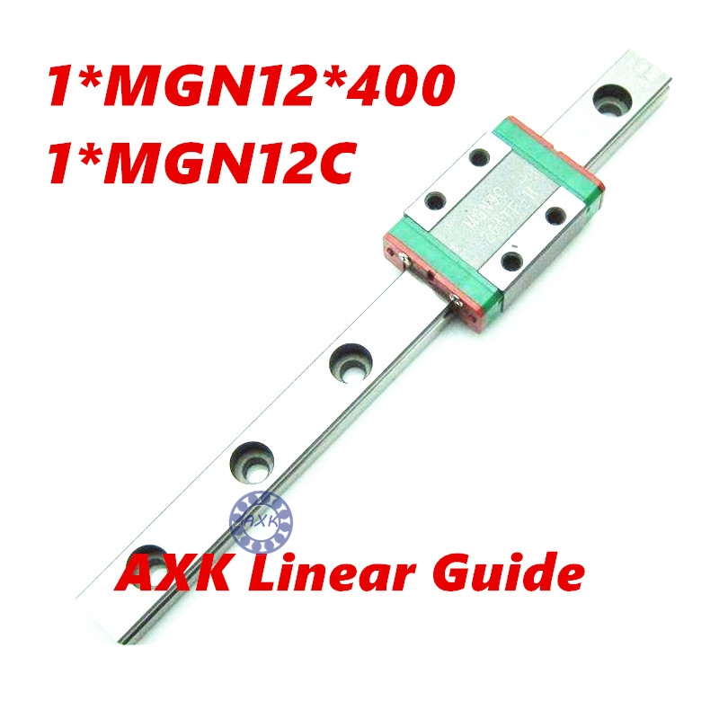CNC part MR12 12mm linear rail guide MGN12 length 400mm with mini MGN12C linear block carriage miniature linear motion guide way axk mr12 miniature linear guide mgn12 long 400mm with a mgn12h length block for cnc parts free shipping