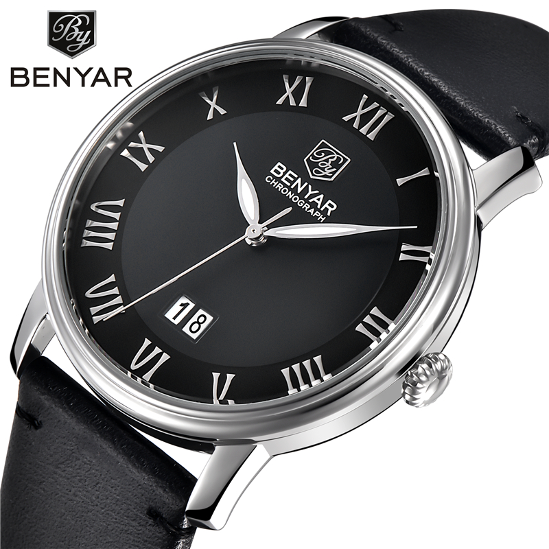 BENYAR Mens Business Watches Brand Luxury Calendar Roman Numerals Leather Fashion Casual Quartz Watch Relogio Masculino benyar watch mens luxury brand quartz blue watches fashion business male leather wristwatch waterproof clock relogio masculino