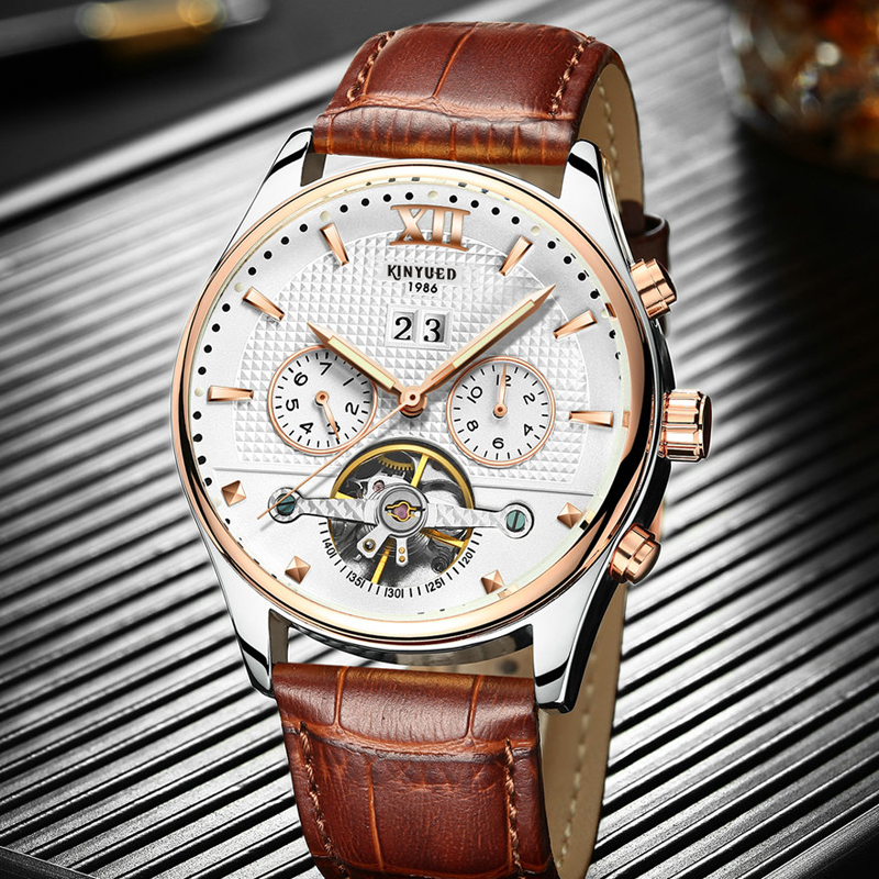 KINYUED Military Self Winding Skeleton Watch Men Top Brand Automatic Mechanical Watches Rose Gold Waterproof Horloges Mannen цена и фото