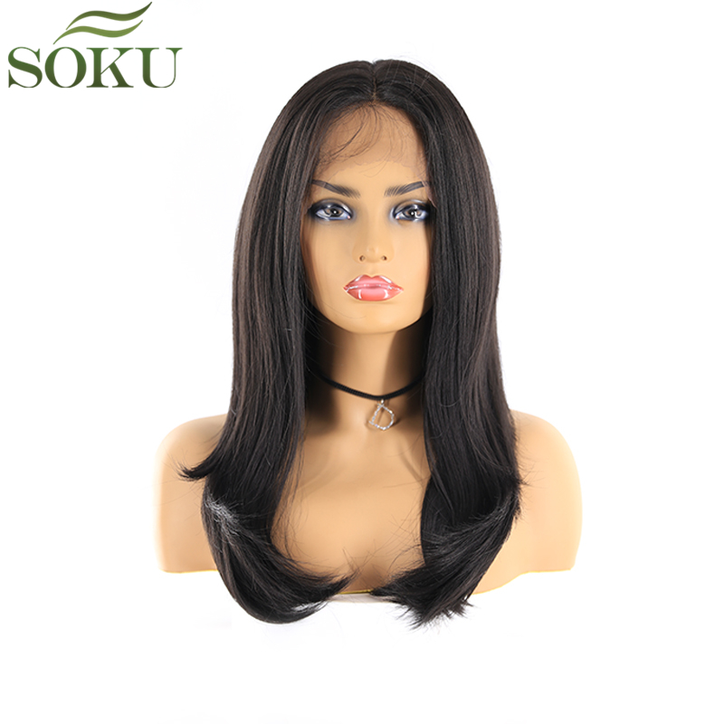 SOKU Synthetic Lace Front Wigs For Black Women Free Part 1B Black Color Straight 24 Inch