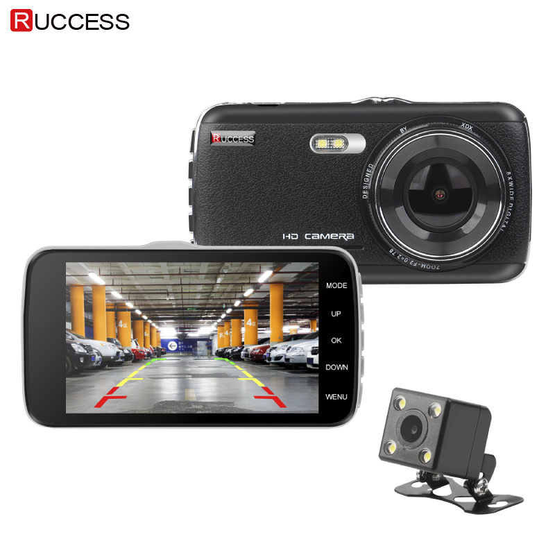 Ruccess Dash Cam FHD 1080P Car DVR Camera Dual Lens 4.0 Inch IPS Front Rear view Auto Registrator Night Version Video Recorder