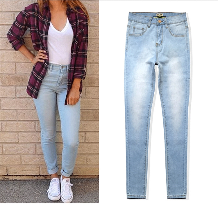 New sexy skinny high waisted sky blue jeans women casual pencil pants trousers full length plus size for womans feminina sexy diamond sequined scratched pencil pants washed low waisted full length denim women jeans trousers womans plus size