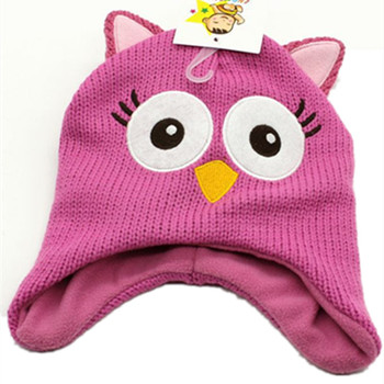 Cartoon Anime night owl Knitting Cotton Beanie Cap Plush Winter Warm Cute Black Cat Hat Cartoon Kid Child Fleece Lining Beanies