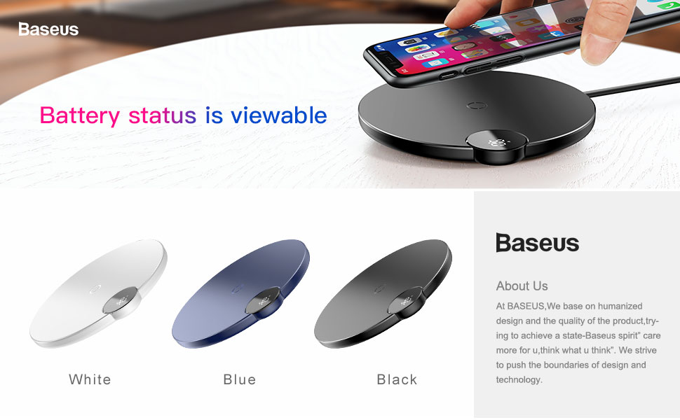 Baseus LED Qi Wireless Charger For iPhone Xs Max X 8 10W Fast Wirless Wireless Charging Pad For Samsung S10 S9 Xiaomi MI 9 MIX 3 1