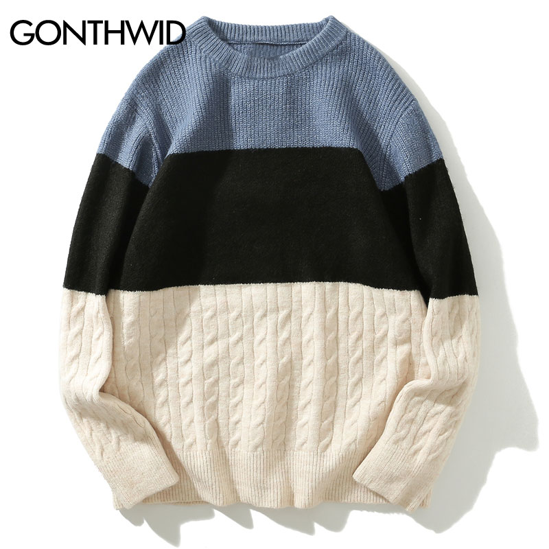 GONTHWID Color Block Striped Knitted Sweaters 2019 Men Pullover Knitwear Jumper Sweaters Fashion Casual Crewneck Sweater Tops