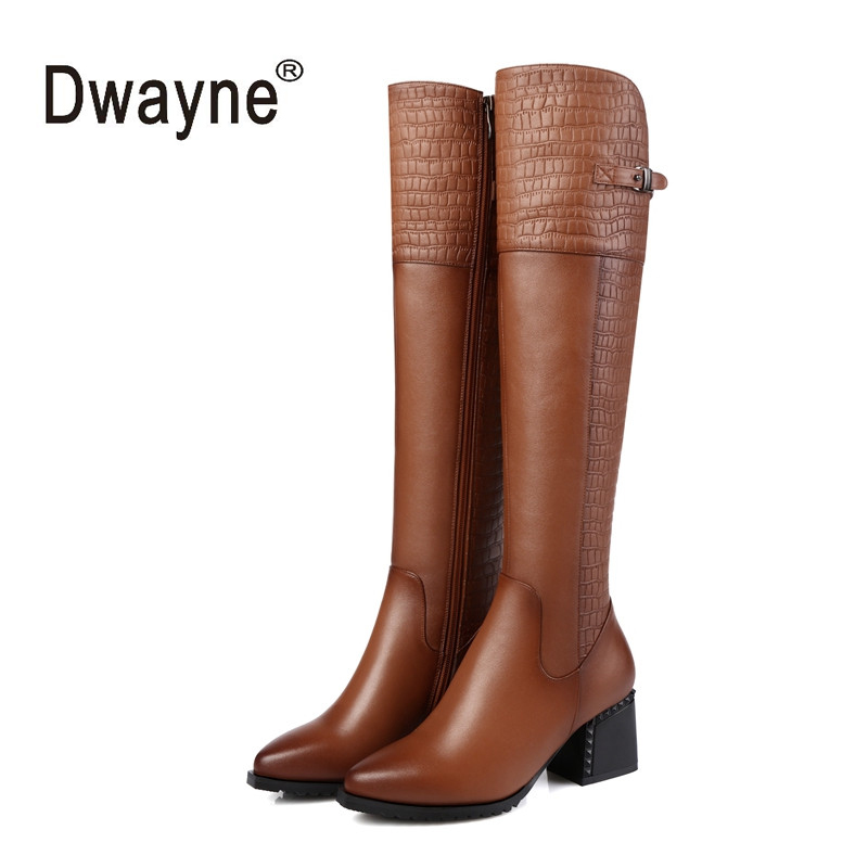 High Quality Genuine Leather Boots Square Heels Autumn Winter Knee High Boots Sexy Snow Boots Shoes Woman 330-190 rizabina genuine leather boots rivet square heels autumn winter ankle boots sexy martin fur snow boots shoes woman size34 39