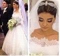 Wedding Dress 2017 Bridal Muslim Ball Gown Lace Sexy Boat Neck Beading Long Sleeve Vestido De Noiva Plus Size Wedding Dresses